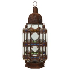 Large Moroccan Colored Glass and Metal Lantern