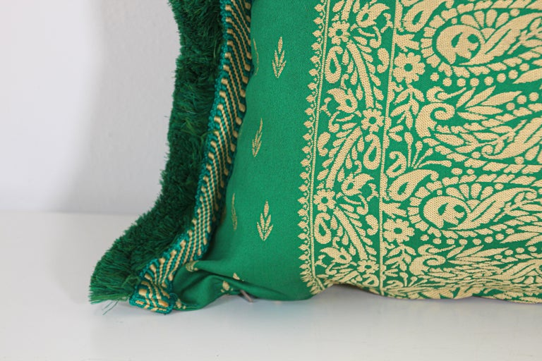Large Moroccan Damask Green Bolster Lumbar Decorative Pillow For Sale 6