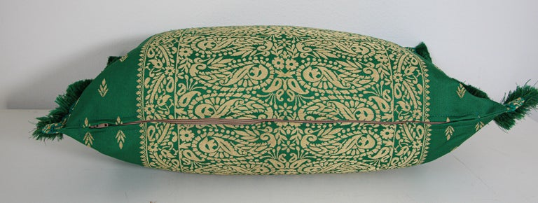 Large Moroccan Damask Green Bolster Lumbar Decorative Pillow For Sale 7