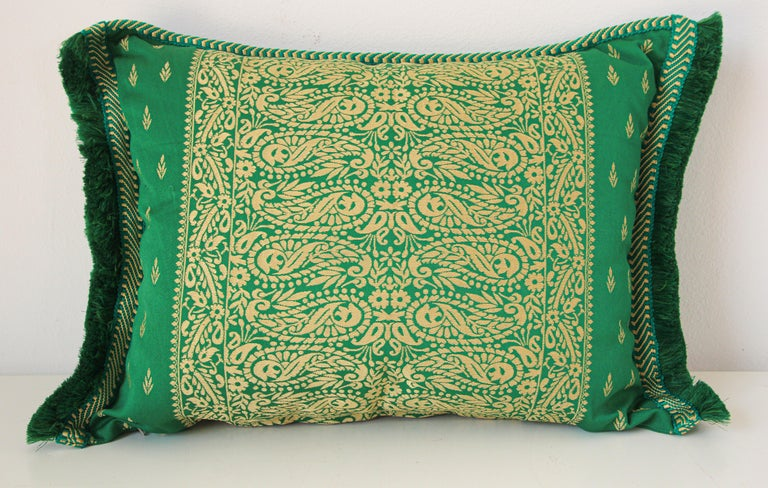 Large Moroccan damask green floral bolster lumbar decorative pillow.