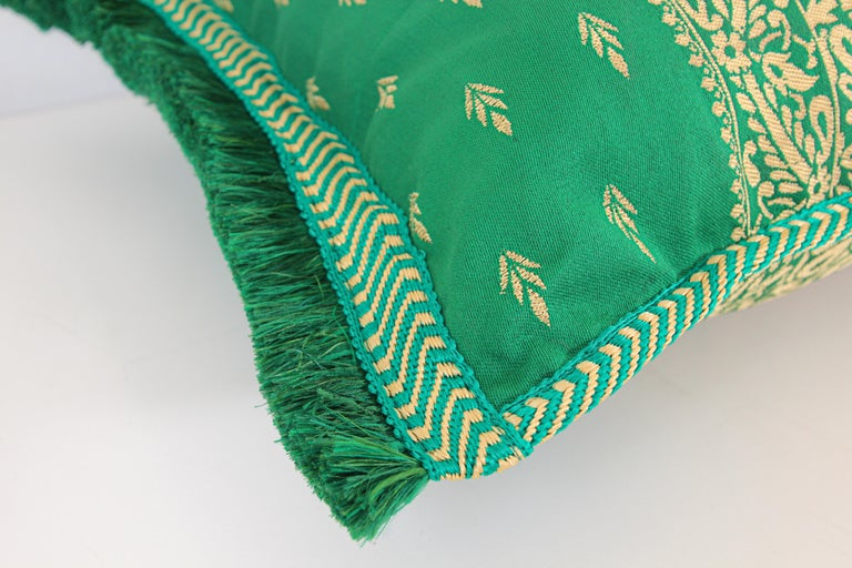 Fabric Large Moroccan Damask Green Bolster Lumbar Decorative Pillow For Sale