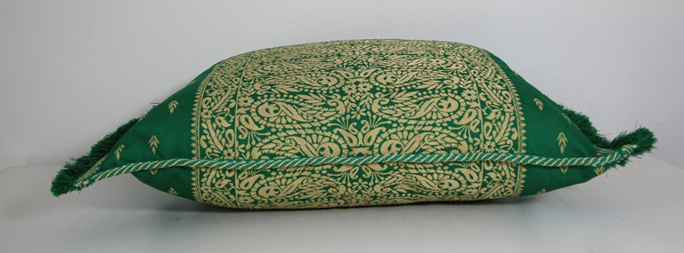 Large Moroccan Damask Green Bolster Lumbar Decorative Pillow For Sale 1