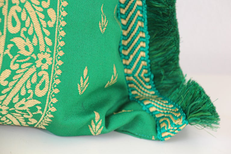 Large Moroccan Damask Green Bolster Lumbar Decorative Pillow For Sale 2