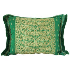 Large Moroccan Damask Green Bolster Lumbar Decorative Pillow