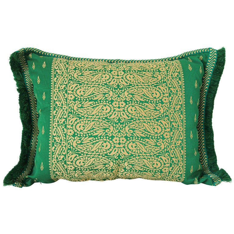 Large Moroccan Damask Green Bolster Lumbar Decorative Pillow For Sale