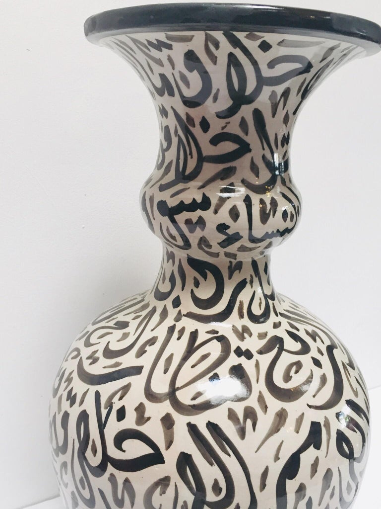 Large Moroccan Glazed Ceramic Vase with Arabic Calligraphy Brown Writing, Fez For Sale 6