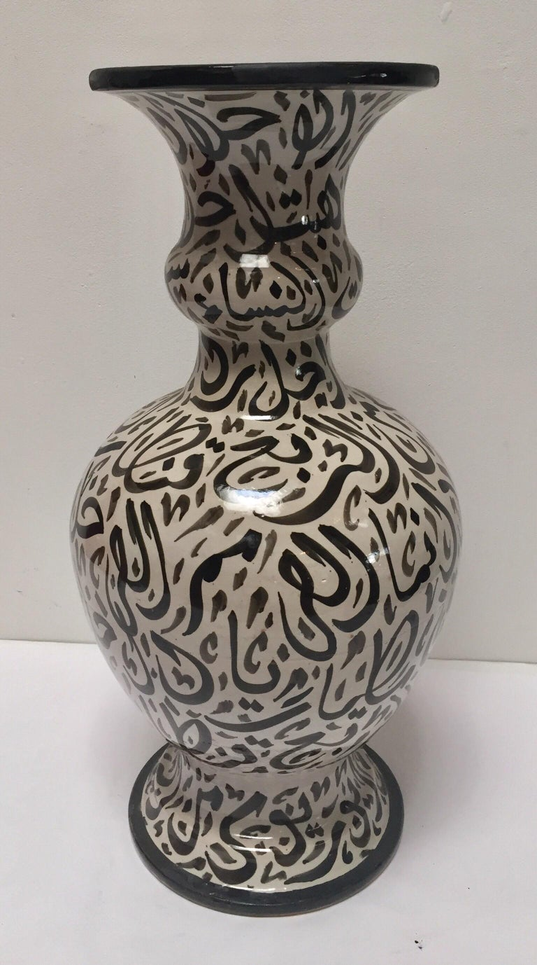 Large Moroccan Glazed Ceramic Vase with Arabic Calligraphy Brown Writing, Fez In Good Condition For Sale In North Hollywood, CA