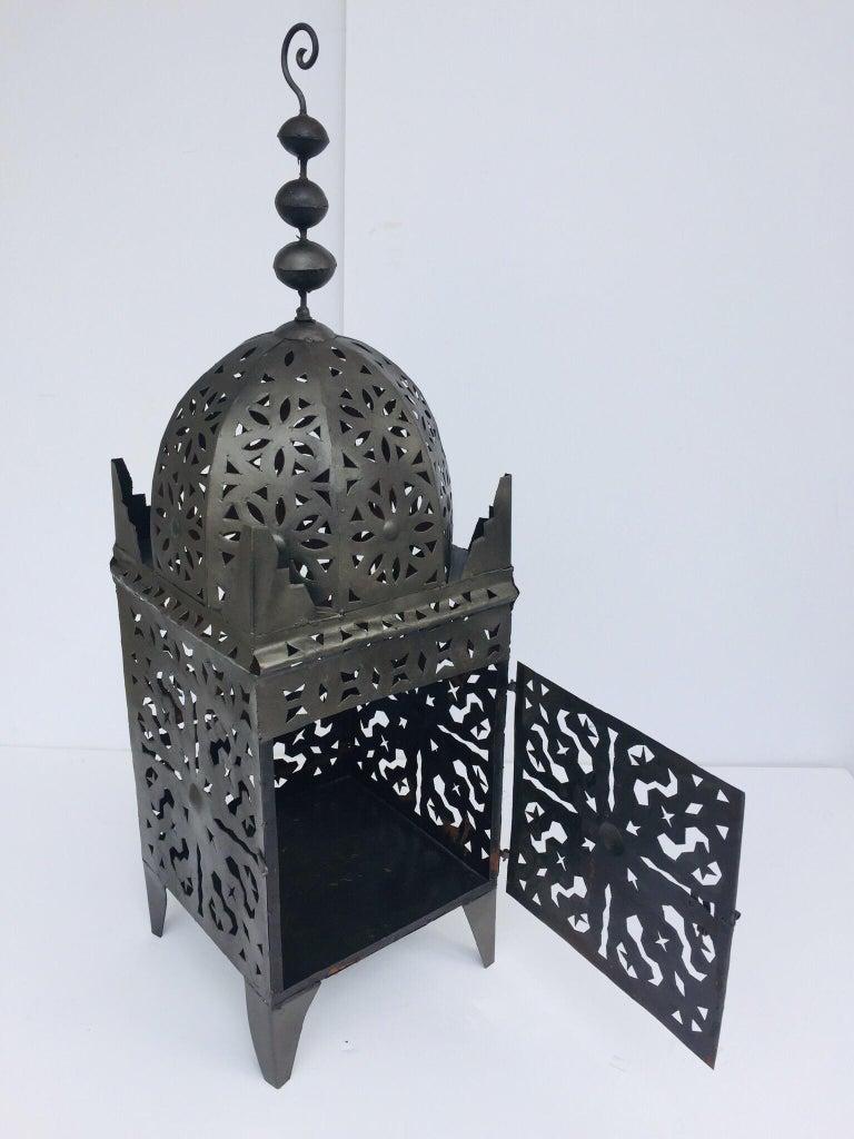 Large Moroccan Hurricane Metal Candle Lantern For Sale 5