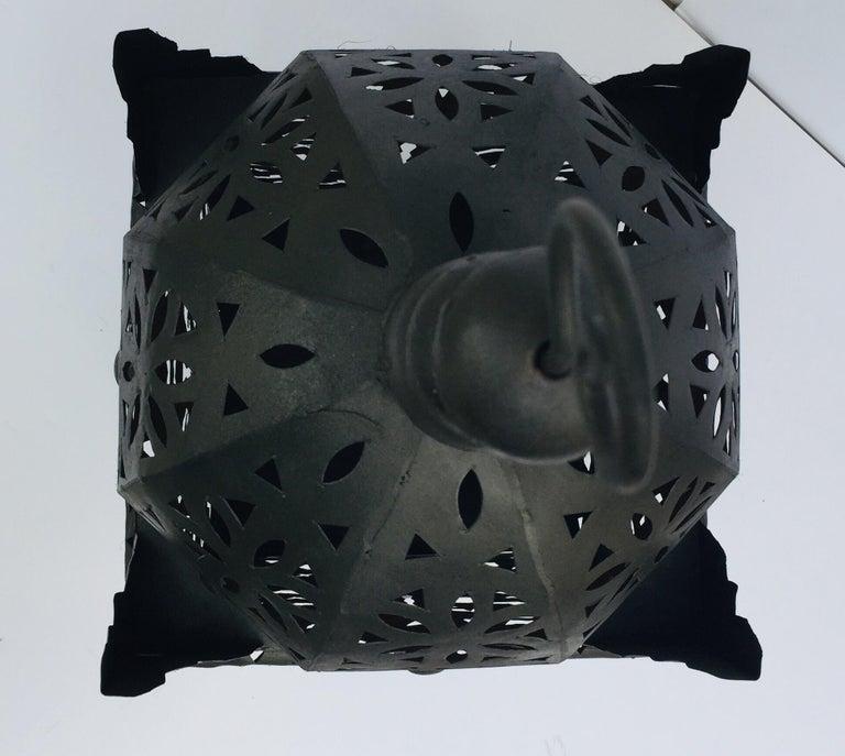 Large Moroccan Hurricane Metal Candle Lantern For Sale 8