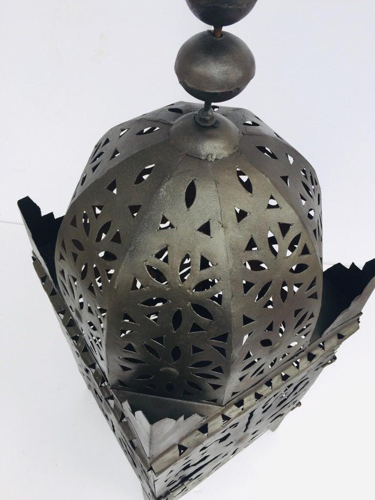 Large Moroccan Hurricane Metal Candle Lantern For Sale 11