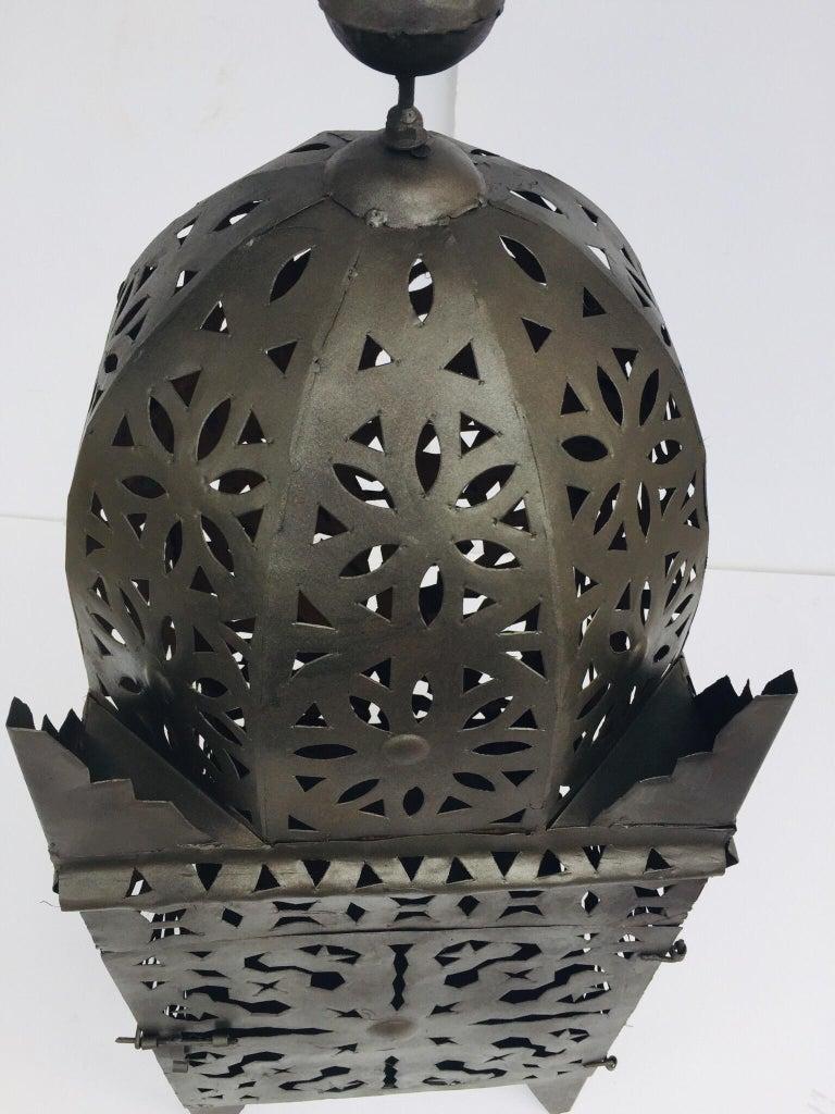 Large Moroccan Hurricane Metal Candle Lantern For Sale 12