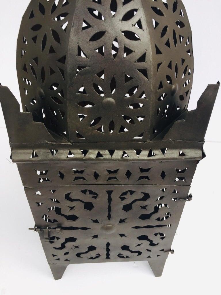 Large Moroccan Hurricane Metal Candle Lantern For Sale 13