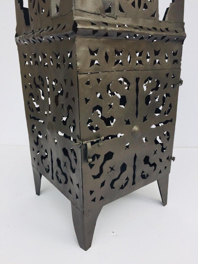 Moorish Large Moroccan Hurricane Metal Candle Lantern For Sale