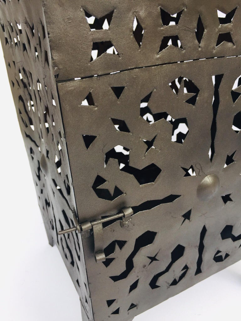 20th Century Large Moroccan Hurricane Metal Candle Lantern For Sale
