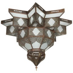 Large Moroccan Star Shape Frosted Glass Chandelier Shade