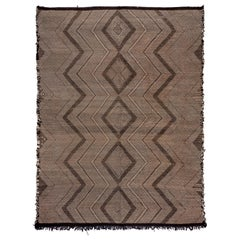 Large Moroccan Zanafi Kilim Rug, Soft Pile, Brown and Beige Tones