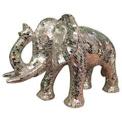 Large Mosaic Mirrored Elephant Sculpture