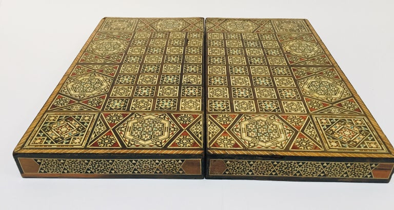Large vintage Syrian inlaid marquetry mosaic backgammon and chess game box.