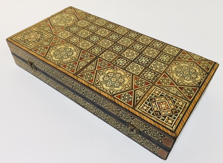 Moorish Large Mosaic Syrian Backgammon and Chess Wooden Inlaid Marquetry Box Game For Sale