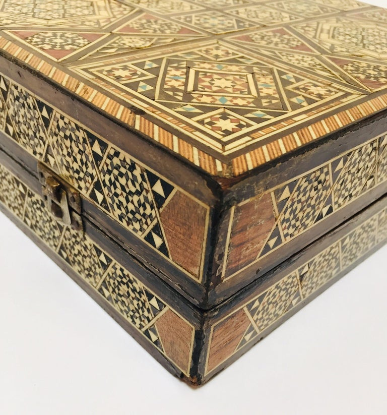 Large Mosaic Syrian Backgammon and Chess Wooden Inlaid Marquetry Box Game For Sale 2