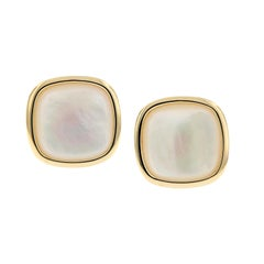 Large Mother of Pearl Yellow Gold Button Stud Earring