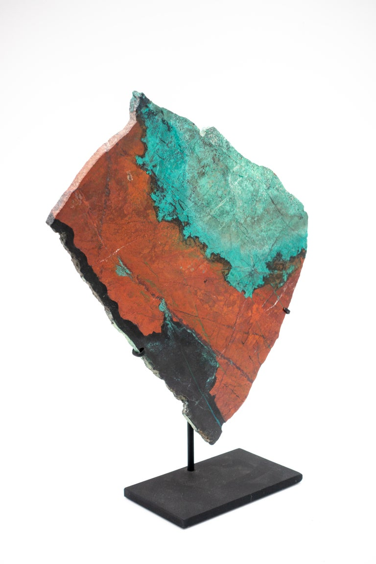 Large mounted green and red cuprite chrysocolla specimen AKA Sonora sunset or Sonora sunrise. It is named for the colorful sunsets over the Sonoran Desert, where these specimens were mined.