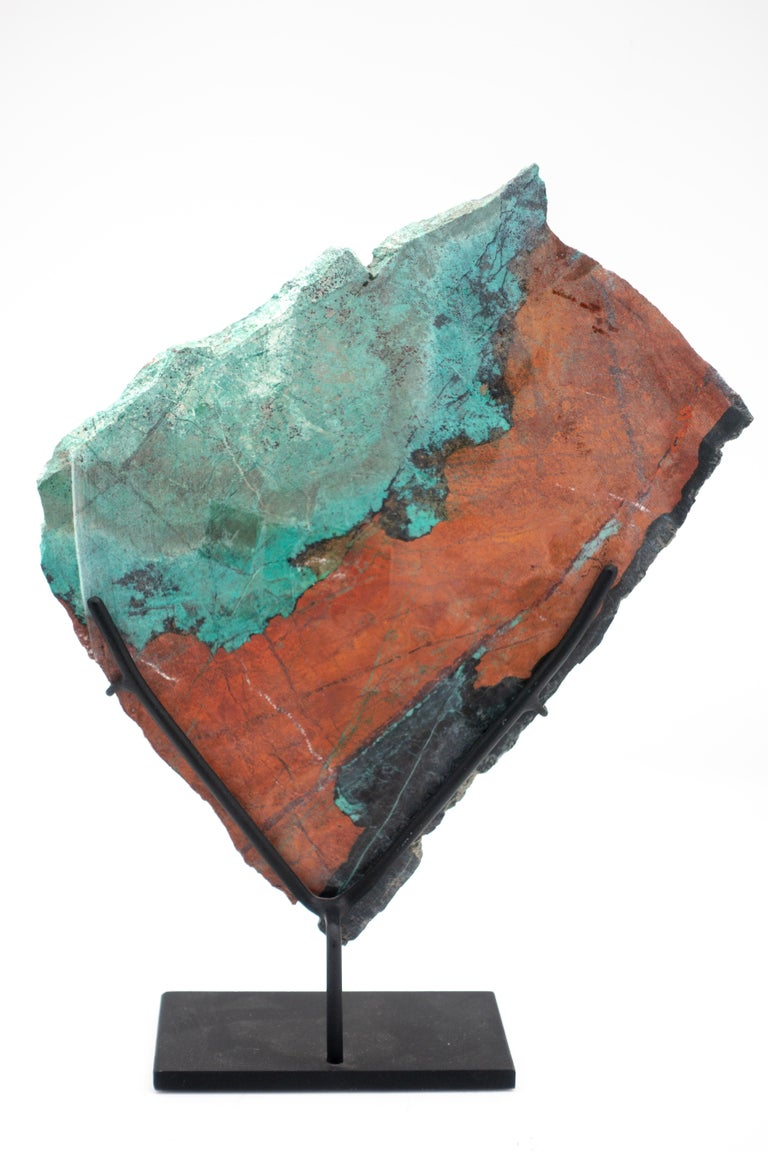 Organic Modern Large Mounted Cuprite Chrysocolla Specimen For Sale
