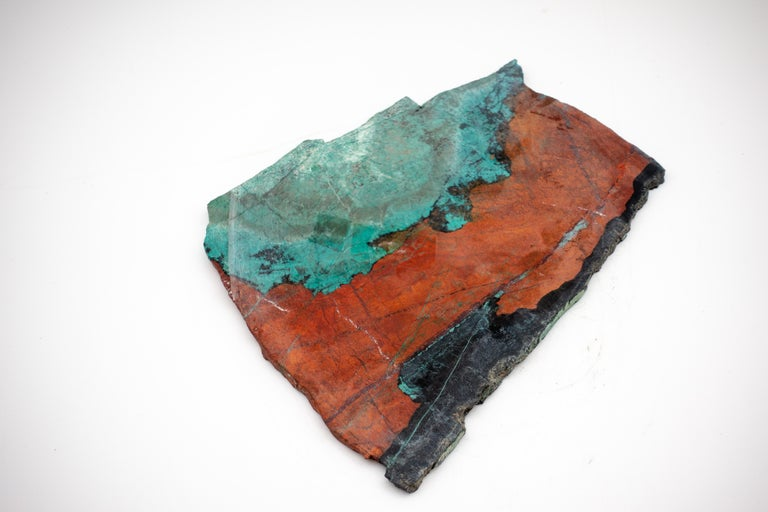 Large Mounted Cuprite Chrysocolla Specimen In Good Condition For Sale In New York, NY