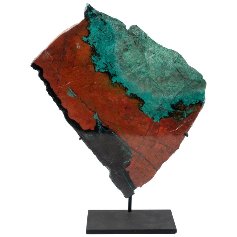 Large Mounted Cuprite Chrysocolla Specimen For Sale
