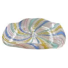 Large Multi-Color Filigree Murano Bowl 1960s by Salviati