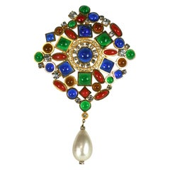 Large Multi Colored Gripoix Crest Brooch, France