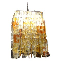 Large Multicolored Murano Glass Chandelier Chandelier-Carlo Nason for Mazzega