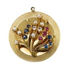 Large Multi-Gemstone Pearl Floral Pendant