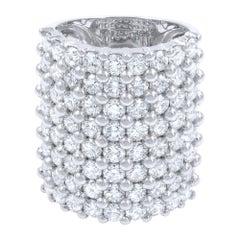 Large Multi Row Diamond Fashion Ladies Ring 6.54 Carat 18 Karat White Gold