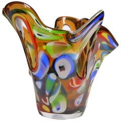 Large Multicolored 1950s Millefiori Murano Glass Bowl