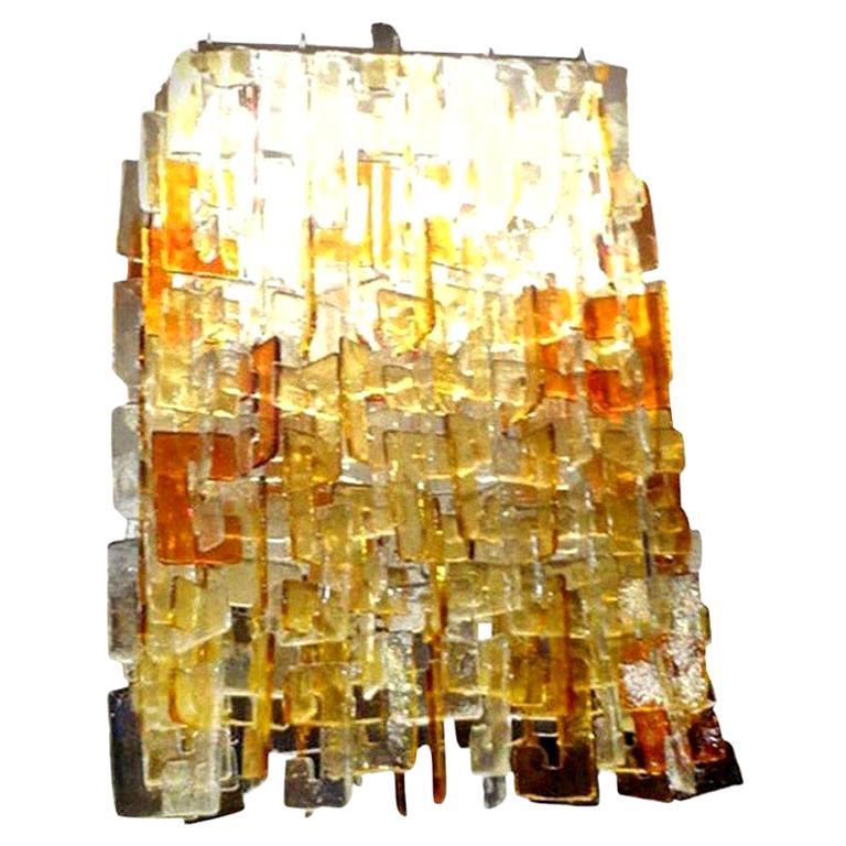 Large Multicolored Murano Glass Chandelier, Carlo Nason for Mazzega For Sale