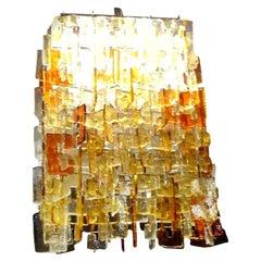 Large Multicolored Murano Glass Chandelier, Carlo Nason for Mazzega