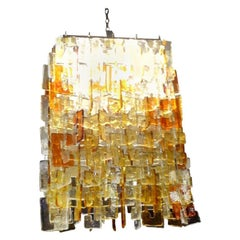 Large Multicolored Murano Glass Chandelier Chandelier, Carlo Nason for Mazzega