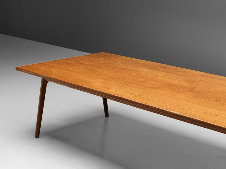 Mid-Century Modern Large Danish Conference or Dining Table in Oak For Sale