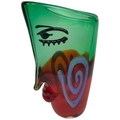 Large Murano Abstract Face Picasso Style Luxury Art Glass Vase Estate Find