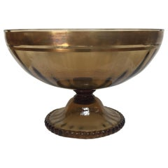 Large Murano Amber Colored Bowl