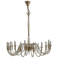 Large Murano Amber-Glass Chandelier