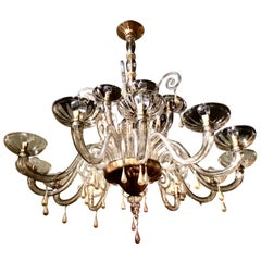 Large Murano Amber Glass Chandelier with 18 Lights