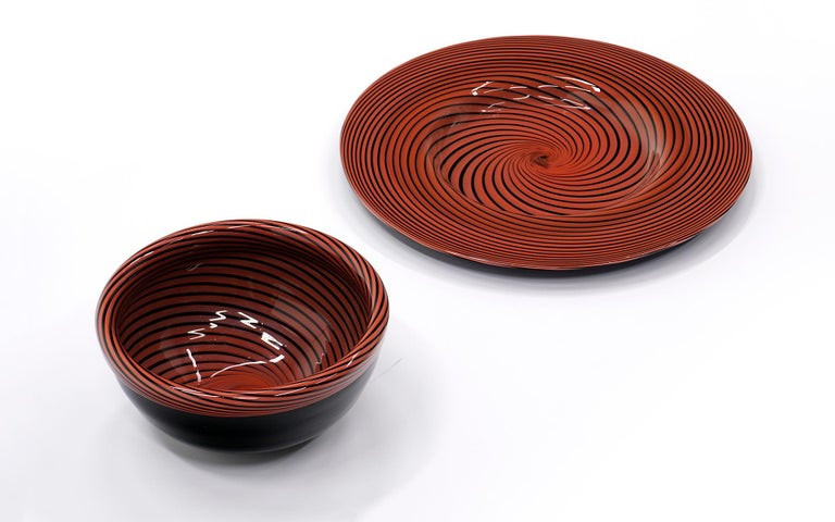 Mid-Century Modern Large Murano Art Glass Charger and Bowl.  Red and Black For Sale