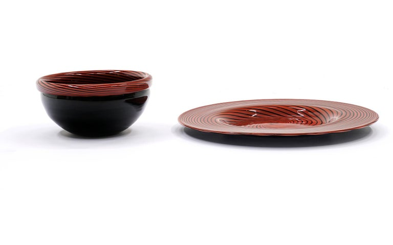 Italian Large Murano Art Glass Charger and Bowl.  Red and Black For Sale