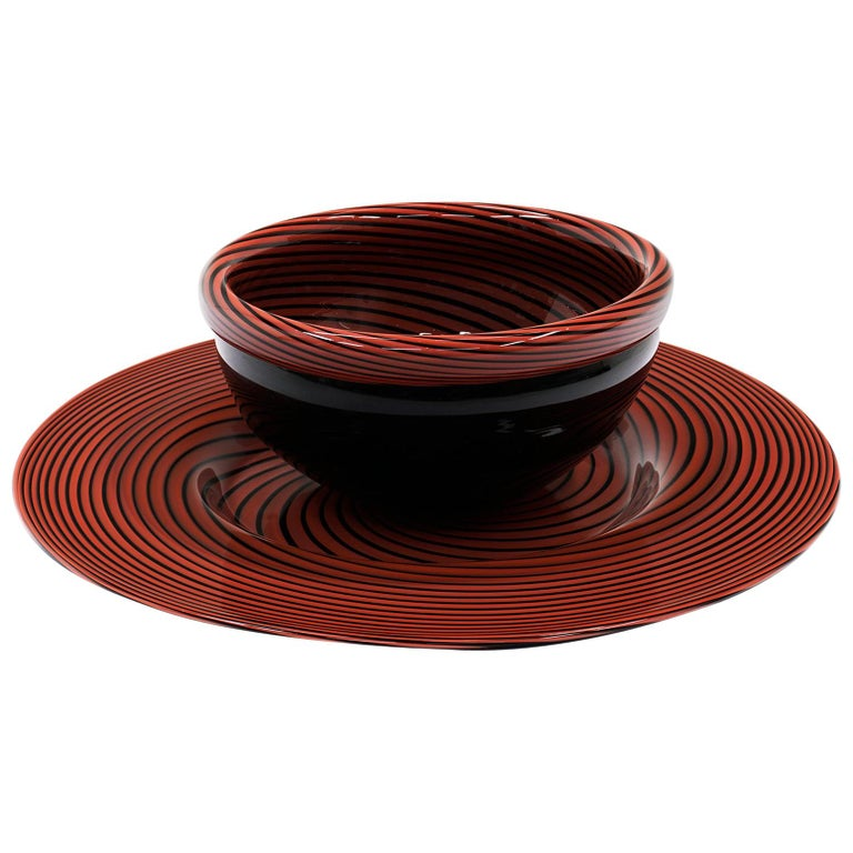 Large Murano Art Glass Charger and Bowl.  Red and Black For Sale