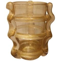 Large Murano Art Glass Flower Vase Gold Color