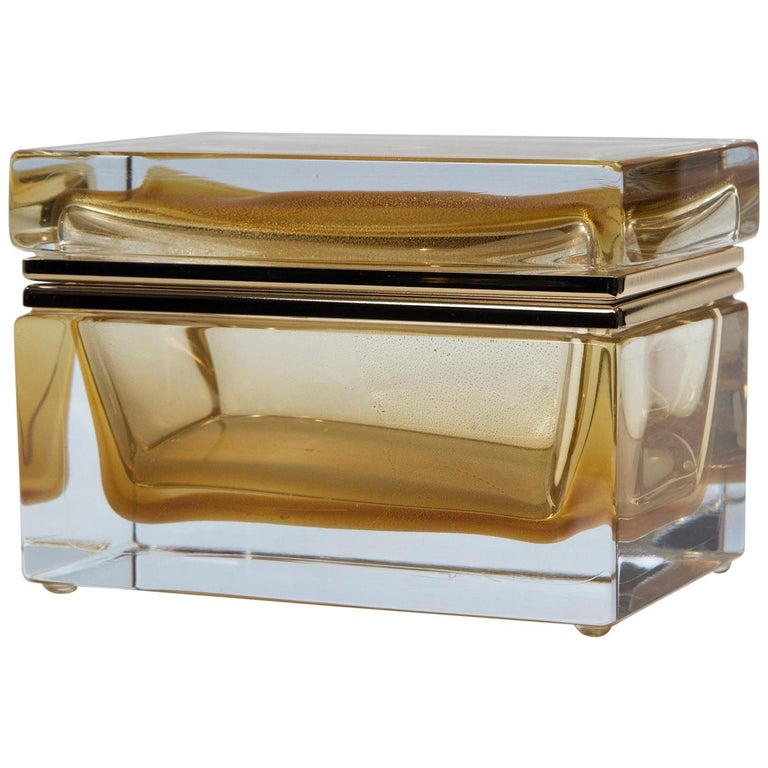 Large Murano Blown 24-Karat Gold Box, Contemporary For Sale