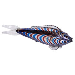 Large Murano Blue and Red Glass Fish, Italy, circa 1970