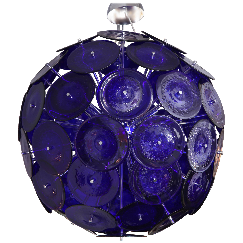 Large Blue Bubble Murano Glass Disc Sputnik Chandelier